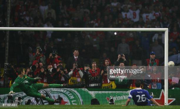 John Terry of Chelsea misses a penalty during the UEFA Champions League Final match between Manchester United and Chelsea at the Luzhniki Stadium on...