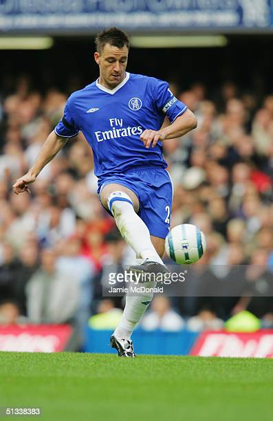 John Terry of Chelsea passes the ball during the Barclays Premiership match between Chelsea and Tottenham Hotspur on September 19, 2004 at Stamford...