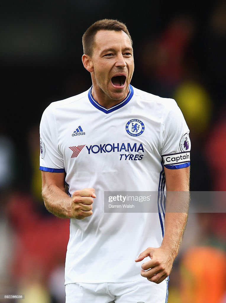 John Terry of Chelsea reacts during the Premier League match between Watford and Chelsea at Vicarage Road on August 20, 2016 in Watford, England.