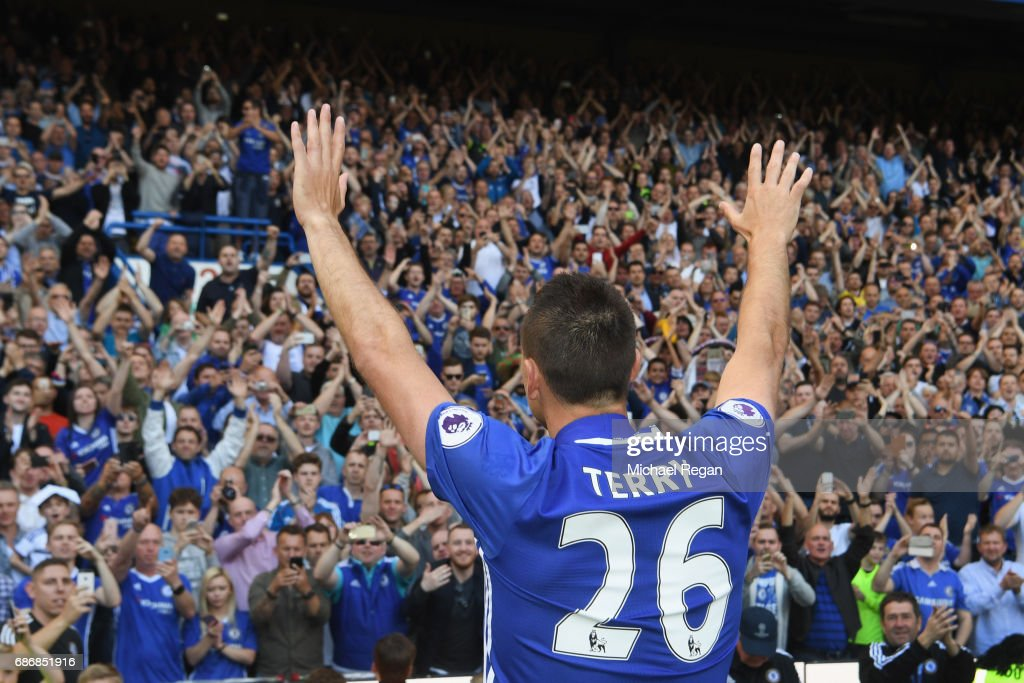 John Terry of Chelsea salutes the crowd after the Premier League match between Chelsea and Sunderland at Stamford Bridge on May 21, 2017 in London, England.