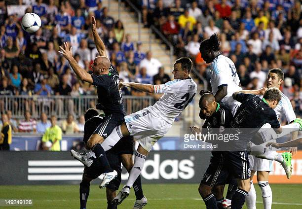 John Terry of Chelsea scores a goal against the MLS All-Stars in the first half during the 2012 AT&T MLS All-Star Game at PPL Park on July 25, 2012...