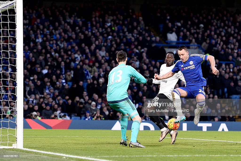 John Terry of Chelsea scores an own goal during the Barclays Premier League match between Chelsea and Everton at Stamford Bridge on January 16, 2016 in London, England.