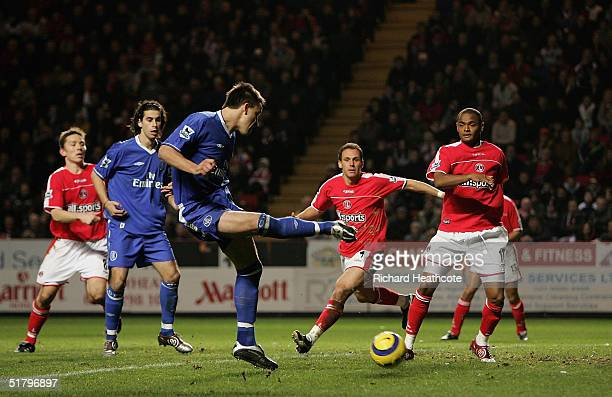 John Terry of Chelsea scores his 2nd goal during the Barclays Premiership match between Charlton Athletic and Chelsea held at The Valley Stadium on...