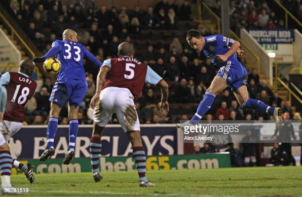 John Terry of Chelsea scores his team's second goal during the Barclays Premier League match between Burnley and Chelsea at Turf Moor on January 30...