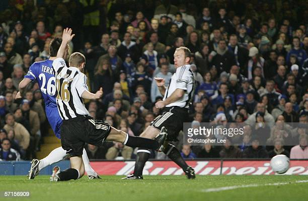 John Terry of Chelsea scores the first goal during the FA Cup Quarter Final match between Chelsea and Newcastle United at Stamford Bridge on March 22...