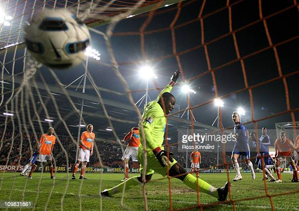 John Terry of Chelsea scores the opening goal during the Barclays Premiership match between Blackpool and Chelsea at Bloomfield Road on March 7, 2011...