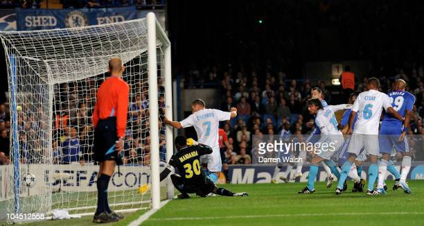 John Terry of Chelsea scores the opening goal during the UEFA Champions League Group F match between Chelsea FC and Marseille at Stamford Bridge on...