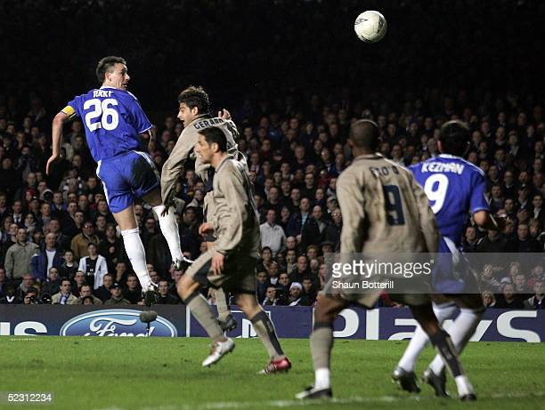 John Terry of Chelsea scores their fourth goal during the UEFA Champions League First Knockout Round Second Leg match between Chelsea and Barcelona...