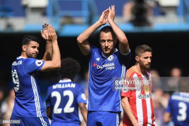 John Terry of Chelsea shows appreciation to the fans as he is subbed during the Premier League match between Chelsea and Sunderland at Stamford...