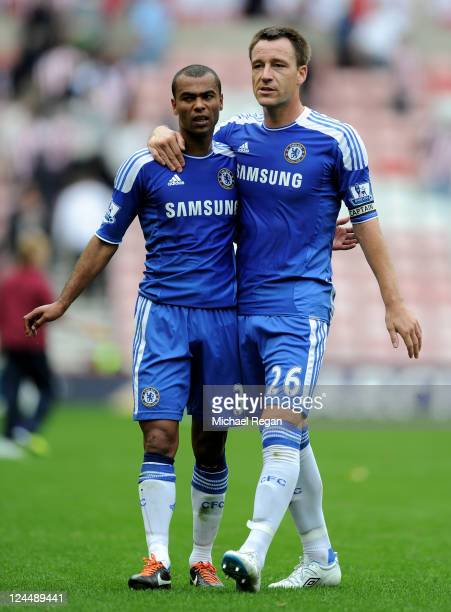 John Terry of Chelsea walks off the pitch with team mate Ashley Cole at the end of the Barclays Premier League match between Sunderland and Chelsea...