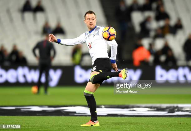 John Terry of Chelsea warms up prior to the Premier League match between West Ham United and Chelsea at London Stadium on March 6 2017 in Stratford...