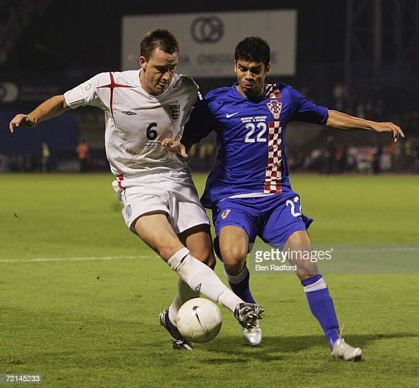 John Terry of England and Eduardo Da Silva of Croatia fight for the ball during the Group E Euro2008 qualifying match between Croatia and England at...