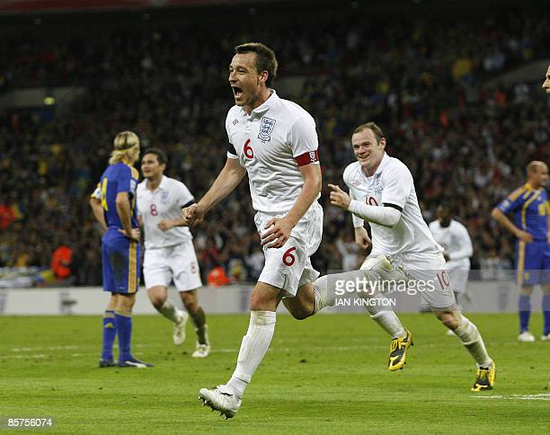 John Terry of England celebrates scoring his goal against Ukraine during their 2010 World Cup qualifying, group six international match at Wembley...