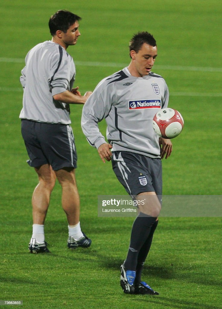 John Terry of England on the ball during training ahead of the Euro 2008 Qualifier against Israel at the Ramat Gan Stadium on March 23, 2007 in Tel Aviv, Israel.