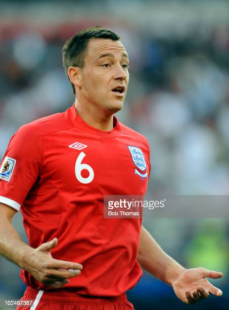 John Terry of England stands during the 2010 FIFA World Cup South Africa Round of Sixteen match between Germany and England at Free State Stadium on...