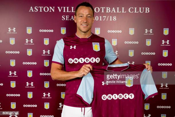 John Terry poses as he is unveiled as a new signing for Aston Villa at Bodymoor Heath training ground on July 3 2017 in Birmingham England