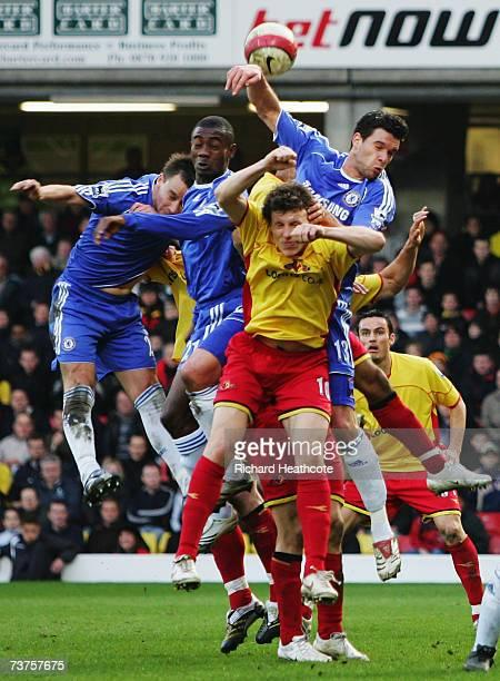 John Terry Salomon Kalou and Michael Ballack of Chelsea rise above the Watford defence during the Barclays Premiership match between Watford and...