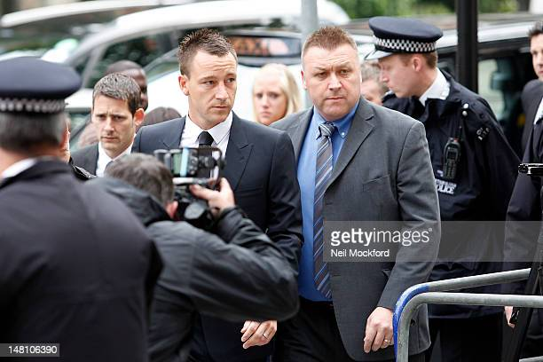 John Terry seen arrives at Westminster Magistrates Court as he continues his trial for allegedly racially abusing Anton Ferdinand on July 10, 2012 in...