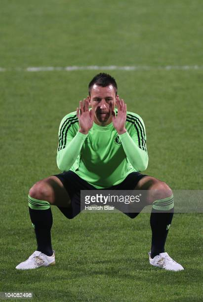 John Terry stretches during the Chelsea training session, ahead of the UEFA Champions League Group F match against MSK Zilina, at the Pod Dubnom...