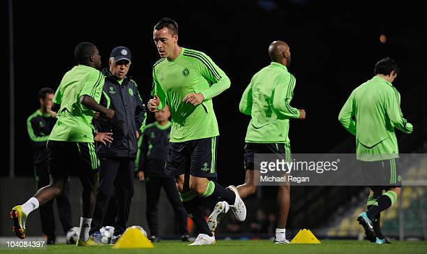 John Terry warms up during the Chelsea training session at Stadium Pod Dubnom on September 14, 2010 in Zilina, Slovakia.