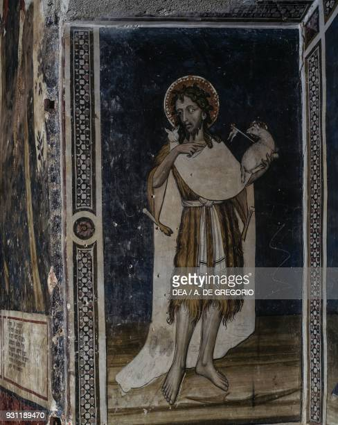 John the Baptist detail from the Crucifixion fresco in the Baronial Hall Castle of Manta Saluzzo Piedmont Italy 15th century