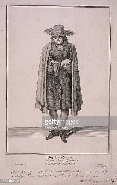 'John the Quaker' John Kelsey the Quaker wearing a cloak and widebrimmed hat He stands arms folded looking thoughtful From Cries of London