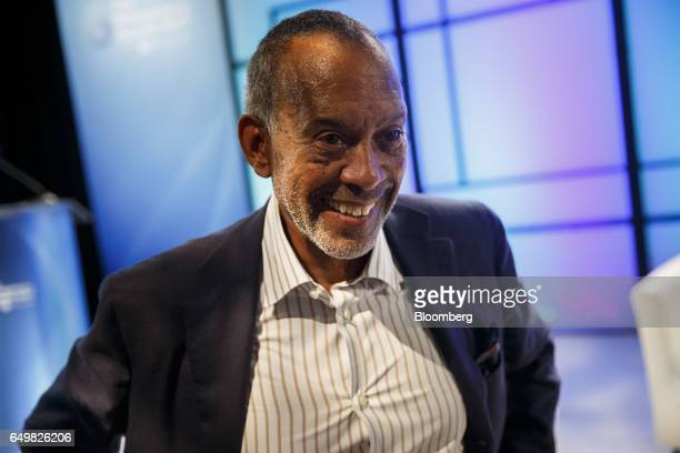 John Thompson chief executive officer of Virtual Instruments Corp and chairman of Microsoft Corp smiles after speaking at the Montgomery Summit in...