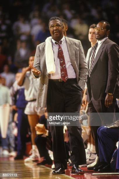 John Thompson head coach of the Georgetown Hoyas during a quarterfinal Big East Conferance Touranment college basketball game against the Providence...