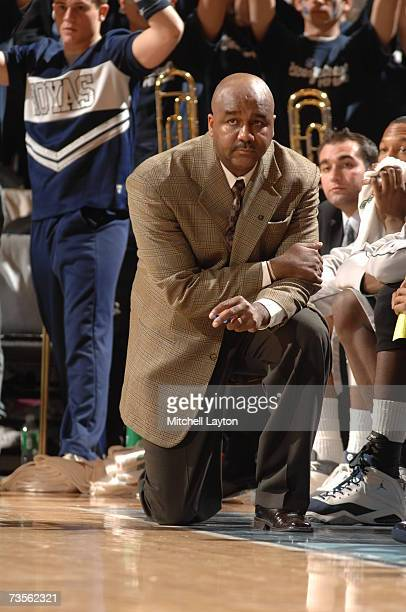 John Thompson III head coach of the Georgetown Hoyas looks on during the game against the Notre Dame Fighting Irish in the Big East College...