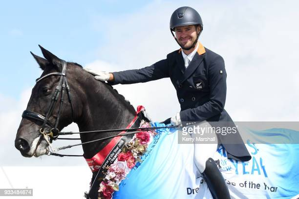 John Thompson rides JHT Antonello and wins the Dressage Horse of the Year title during New Zealand Horse of the Year on March 18 2018 in Hastings New...