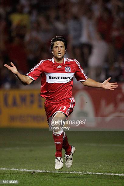 John Thorrington of the Chicago Fire celebrates his second half goal against Toronto FC at Toyota Park on July 12 2008 in Bridgeview Illinois The...
