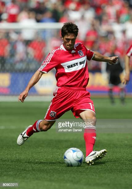 John Thorrington of the Chicago Fire moves to strike the ball against the Kansas City Wizards during their MLS match on April 20 2008 at Toyota Park...