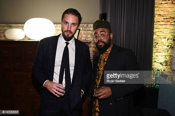 John Tietz and Mobolaji Dawodu attend the CANALI and PRYMA celebration of the US launch of the CANALI online boutique on October 12 2016 in New York...