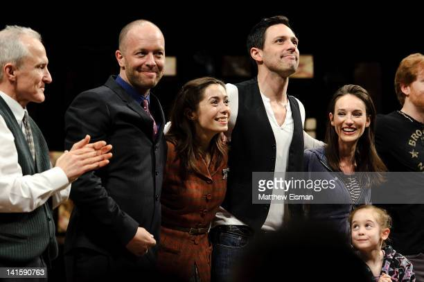 John Tiffany Cristin Milioti Steve Kazee and cast take the opening night curtain call for 'Once' Broadway premiere at The Bernard B Jacobs Theatre on...