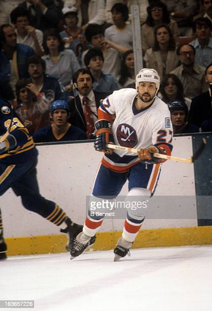 John Tonelli of the New York Islanders skates on the ice during the 1980 Semi Finals against the Buffalo Sabres in May 1980 at the Nassau Coliseum in...