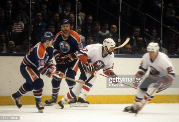 John Tonelli of the New York Islanders skates on the ice during the 1984 Stanley Cup Finals against the Edmonton Oilers in May 1984 at the Nassau...