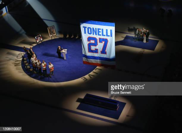 John Tonelli takes part in a ceremony honoring his career with the New York Islanders that saw his jersey retired and raised to the rafters of NYCB...