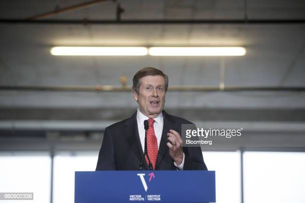 John Tory mayor of Toronto speaks during an event at the Vector Institute inside the MaRS Discovery District in Toronto Ontario Canada on Thursday...