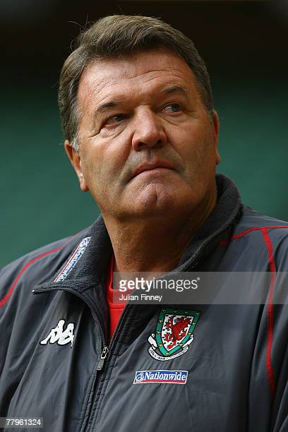 John Toshack coach of Wales looks on during the Euro2008 Qualifier match between Wales and Republic of Ireland at the Millennium Stadium on November...