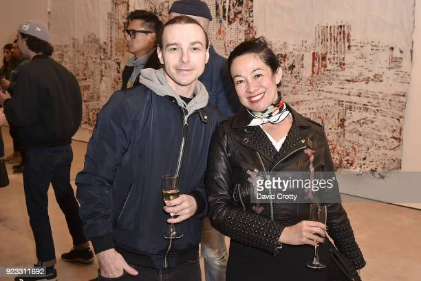 John Tracy and Amanda Fairey attend the Vhils 'Annihilation' Opening Reception on February 22 2018 in Los Angeles California