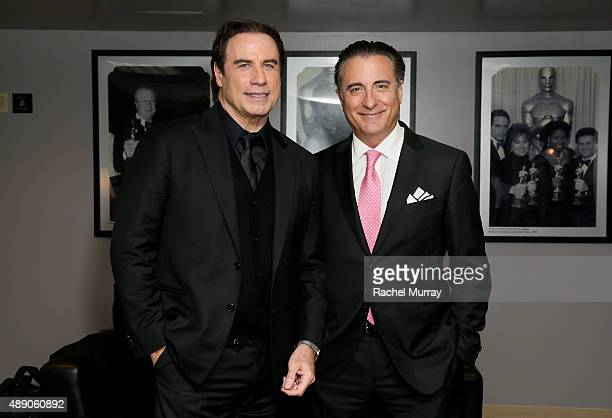 John Travolta and Andy Garcia photographed backstage before Andrea Bocelli gives a onceinalifetime performance at HollywoodÕs Dolby Theatre on...