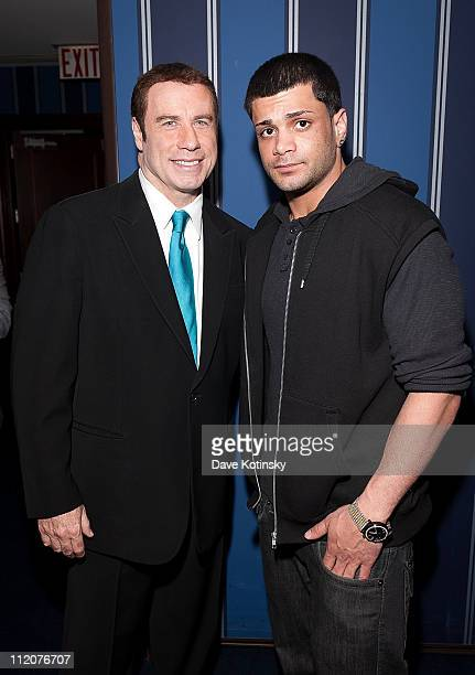 John Travolta and Frank Gotti Agnello attend the celebration of Frank Gotti's 21st birthday with the cast of Gotti Three Generations at the Sheraton...