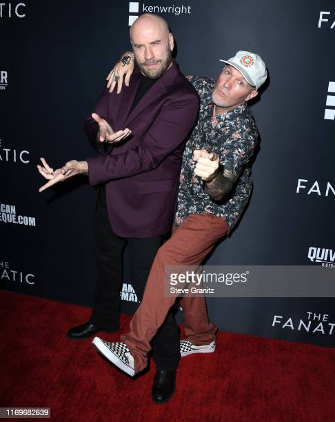 """John Travolta and Fred Durst arrives at the Premiere Of Quiver Distribution's """"The Fanatic"""" at the Egyptian Theatre on August 22, 2019 in Hollywood,..."""