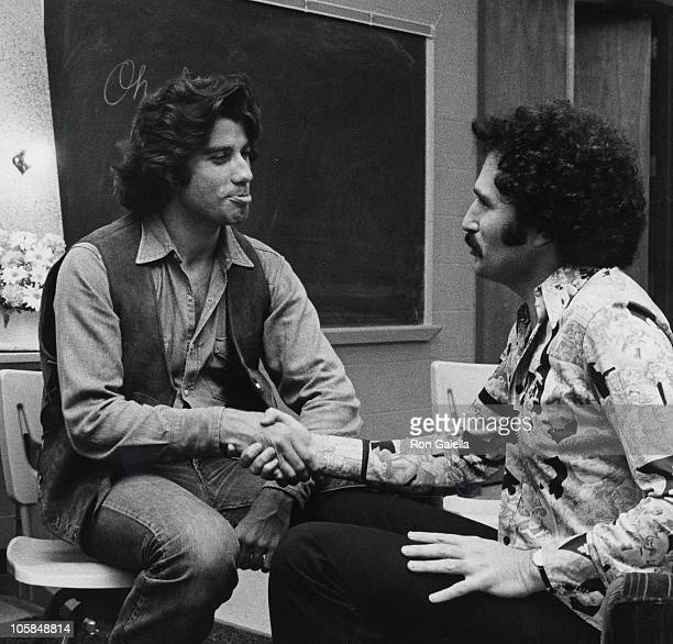 John Travolta and Gabe Kaplan during John Travolta Backstage After Opening in Bus Stop at Westchester Playhouse in Tuckahoe New York United States