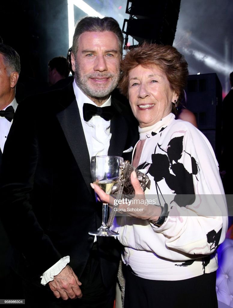 John Travolta and his sister Ellen Travolta during the party in Honour of John Travolta's receipt of the Inaugural Variety Cinema Icon Award during the 71st annual Cannes Film Festival at Hotel du Cap-Eden-Roc on May 15, 2018 in Cap d'Antibes, France.