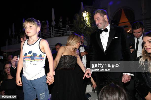 John Travolta and his son Benjamin Travolta and hiw wife Kelly Preston during the party in Honour of John Travolta's receipt of the Inaugural Variety...