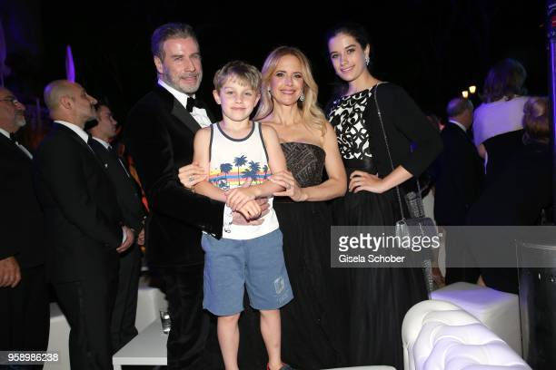 John Travolta and his wife Kelly Preston, daughter Ella Blue Travolta and son Benjamin Travolta during the party in Honour of John Travolta's receipt...
