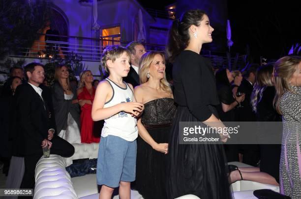 John Travolta and his wife Kelly Preston daughter Ella Blue Travolta and son Benjamin Travolta during the party in Honour of John Travolta's receipt...