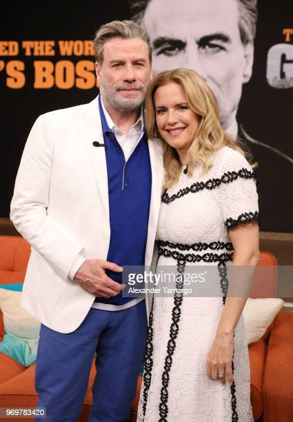 John Travolta and Kelly Preston are seen on the set of Despierta America at Univision Studios to promote the film GOTTI on June 8 2018 in Miami...