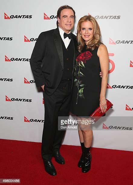 John Travolta and Kelly Preston arrive at the QANTAS 95th Birthday Gala Celebration at Hangar 96 in the Qantas Jetbase on November 20 2015 in Sydney...